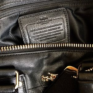 Coach Bags - Coach Black Crossbody Satchel Gold